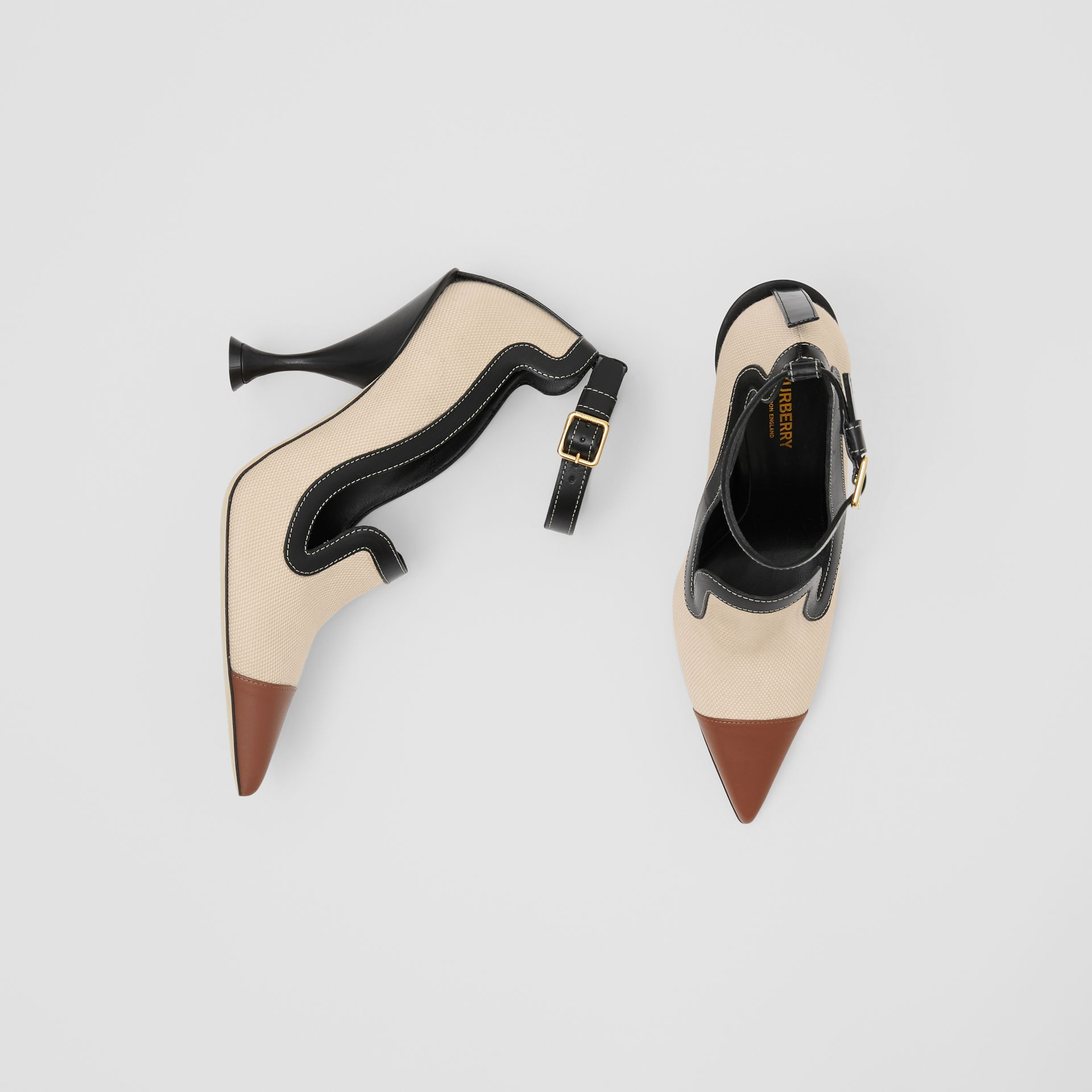 Cotton Canvas and Leather Point-toe Pumps in Natural/black - Women | Burberry - gallery image 0