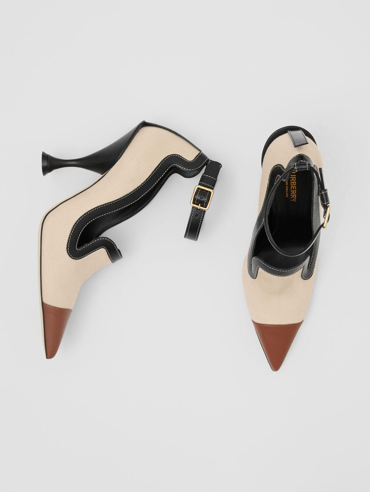 Cotton Canvas and Leather Point-toe Pumps in Natural/black