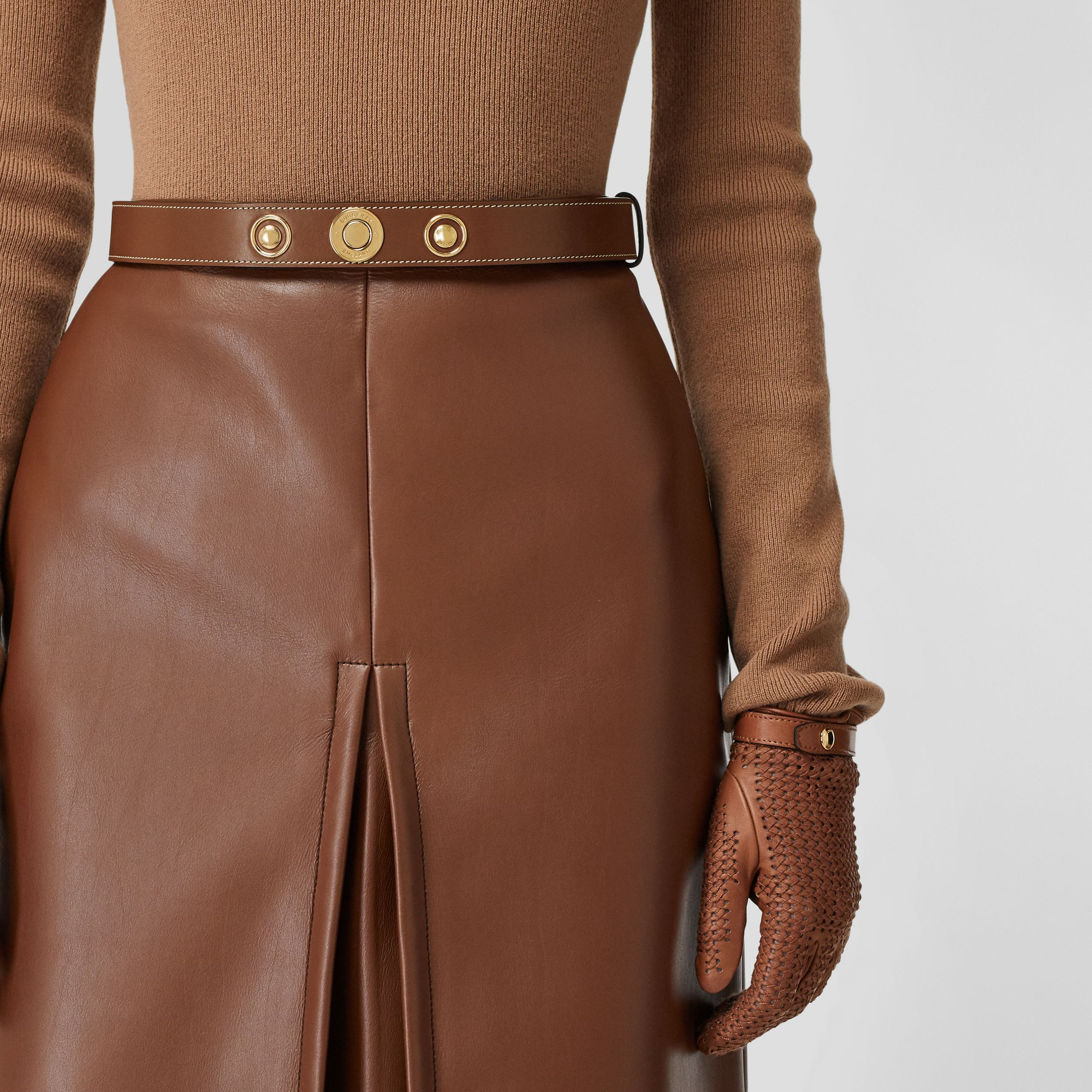 Triple Stud Leather Belt in Tan | Burberry Singapore - 3