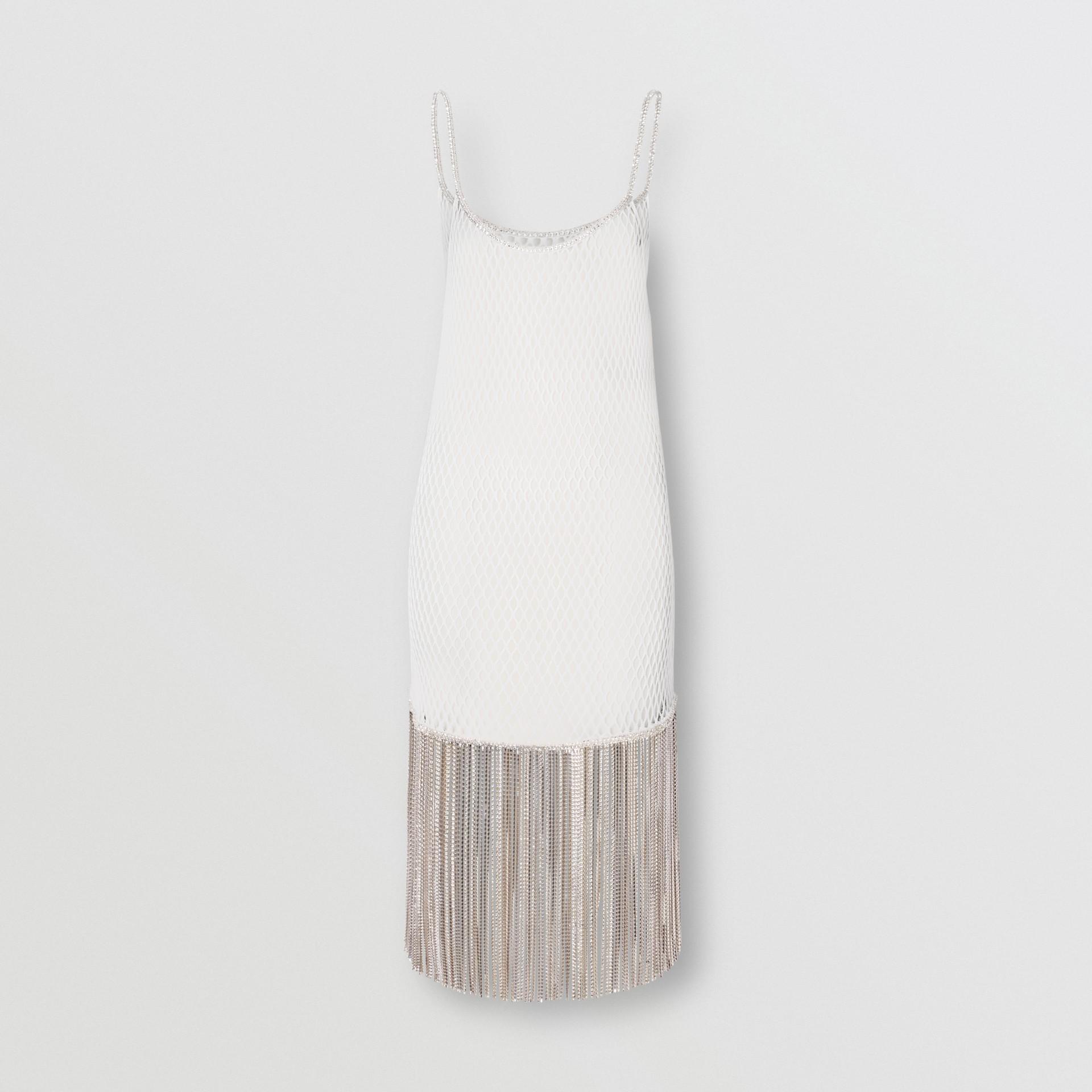 Vestido en malla de algodón con flecos de cristales (Blanco) - Mujer | Burberry - imagen de la galería 3