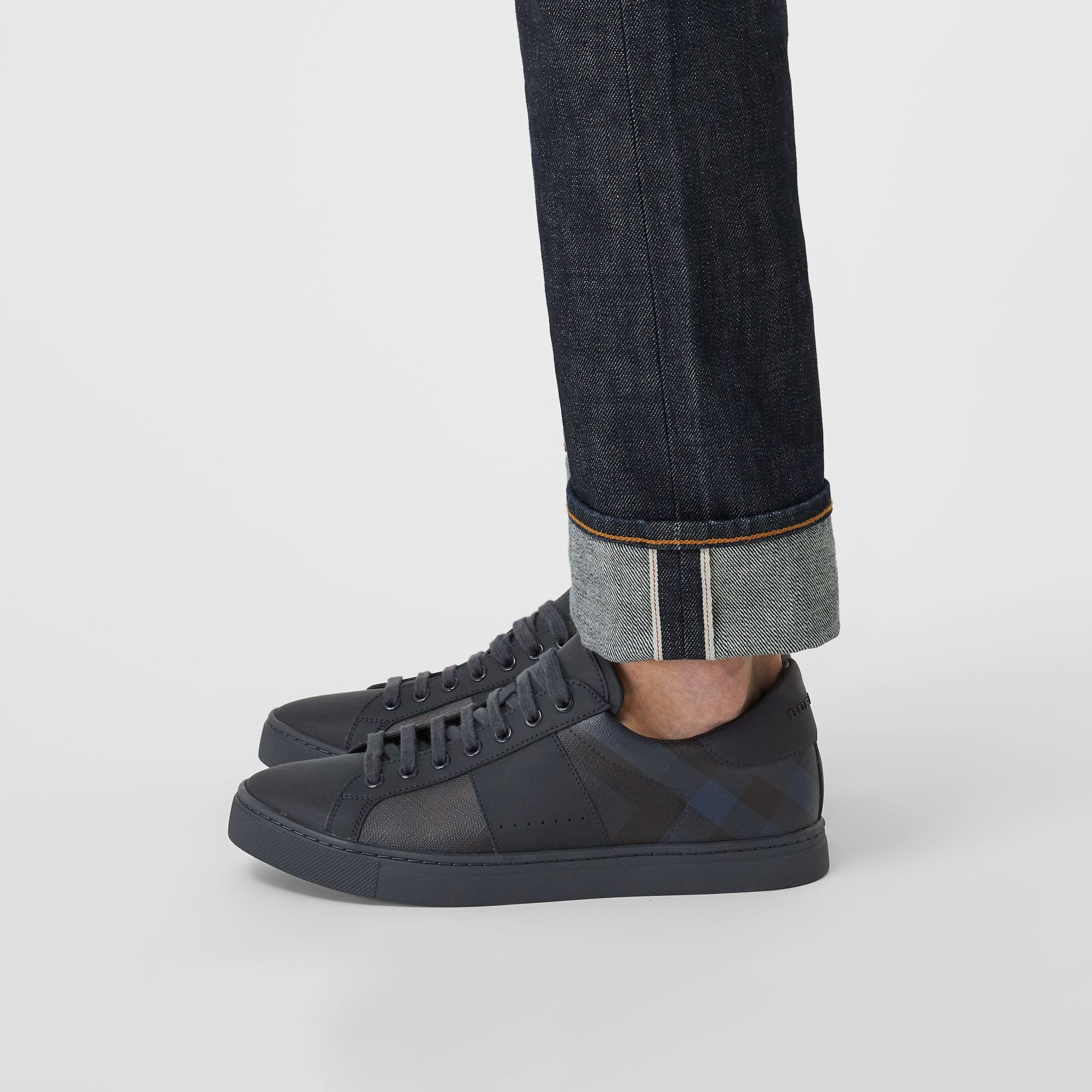 London Check and Leather Sneakers in Navy - Men | Burberry - gallery image 2