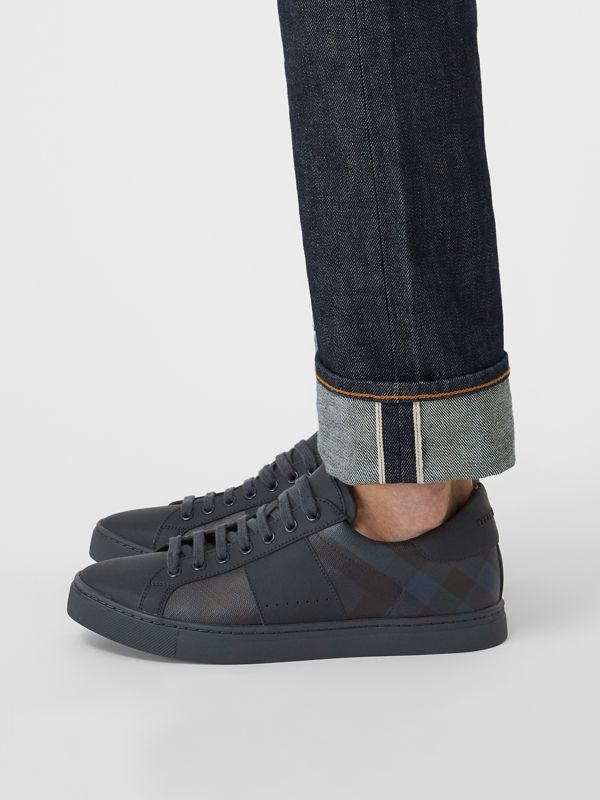 London Check and Leather Sneakers in Navy - Men | Burberry - cell image 2