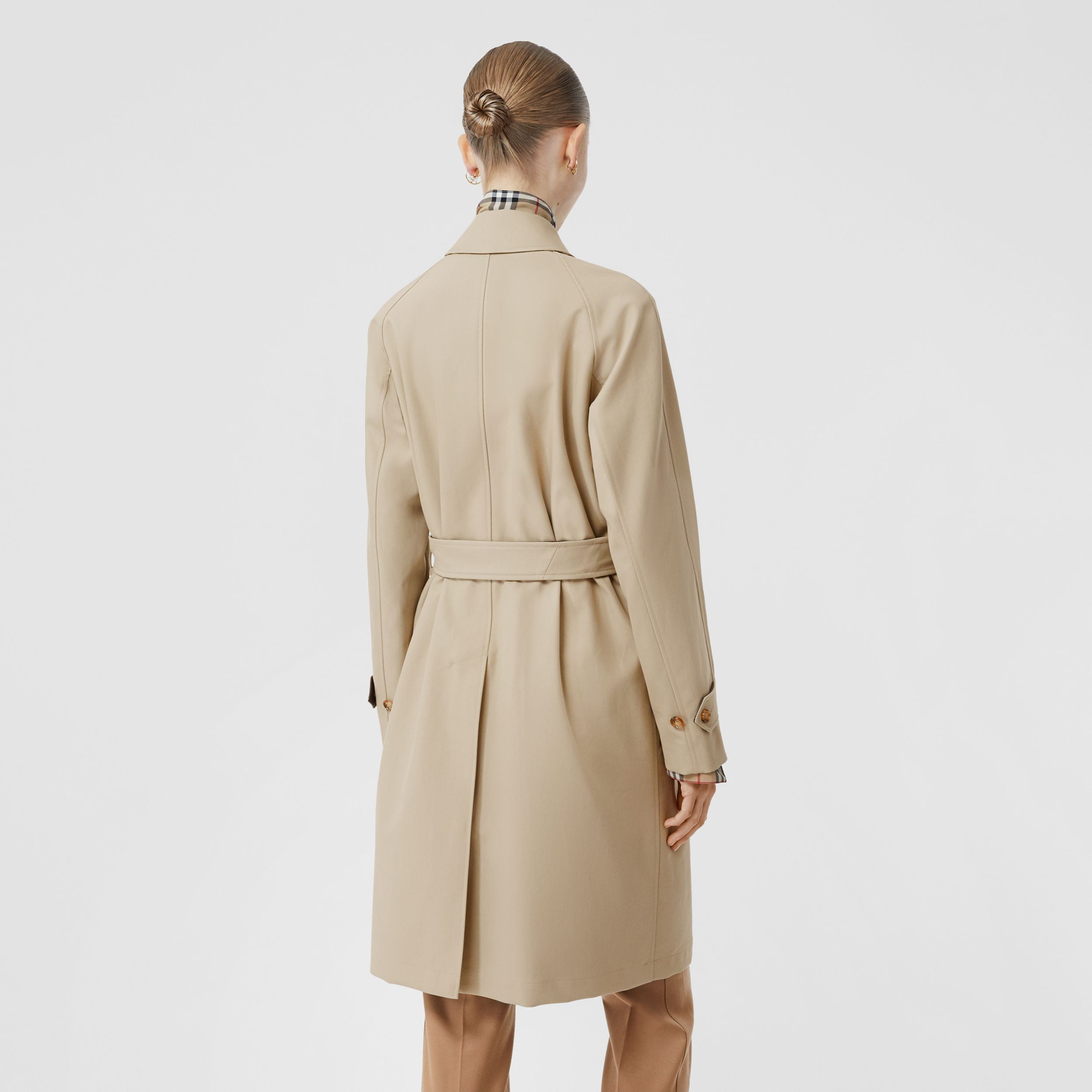 Lambskin Trim Cotton Gabardine Belted Car Coat in Stone - Women | Burberry - 3