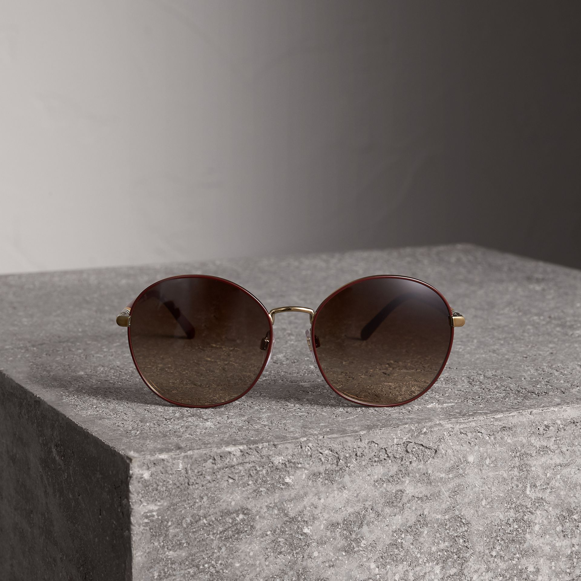 Check Detail Round Frame Sunglasses in Burgundy - Women | Burberry Canada - gallery image 3