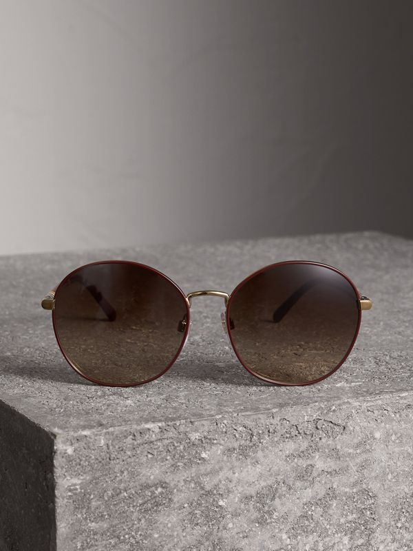 Check Detail Round Frame Sunglasses in Burgundy - Women | Burberry - cell image 3