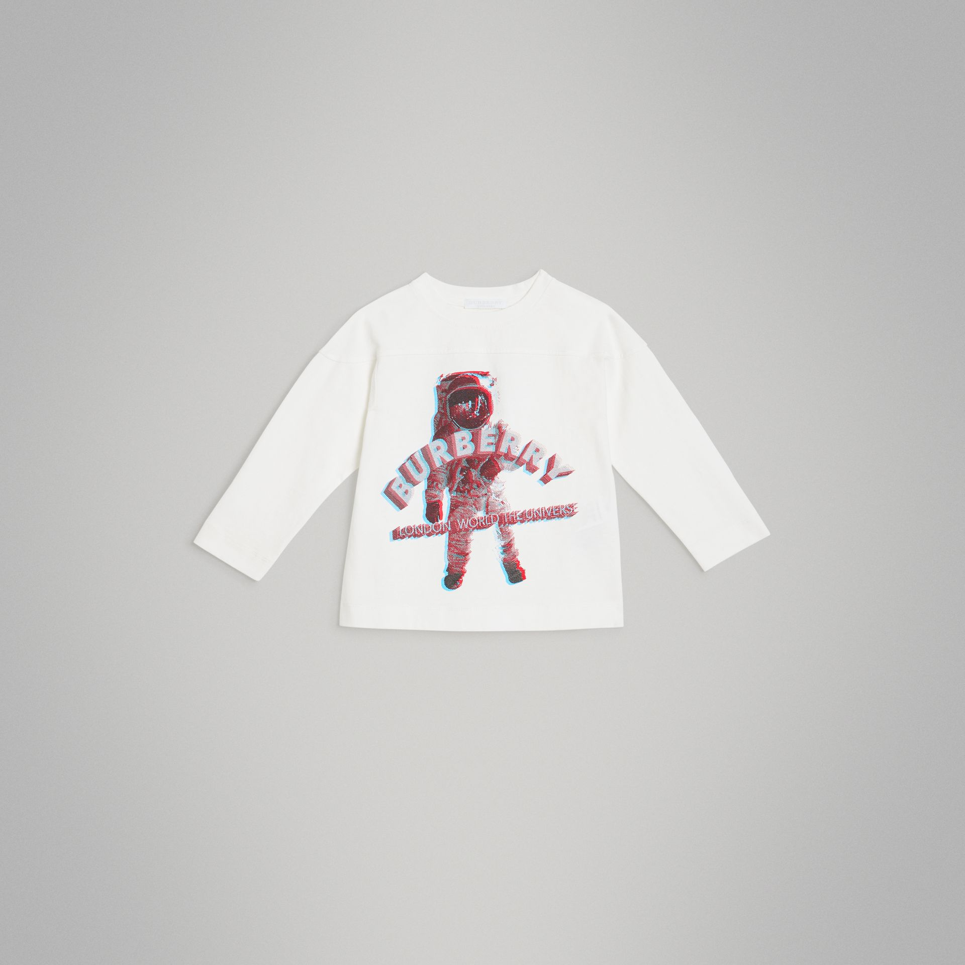Long-sleeve 3D Astronaut Print Cotton Top in White | Burberry Australia - gallery image 0