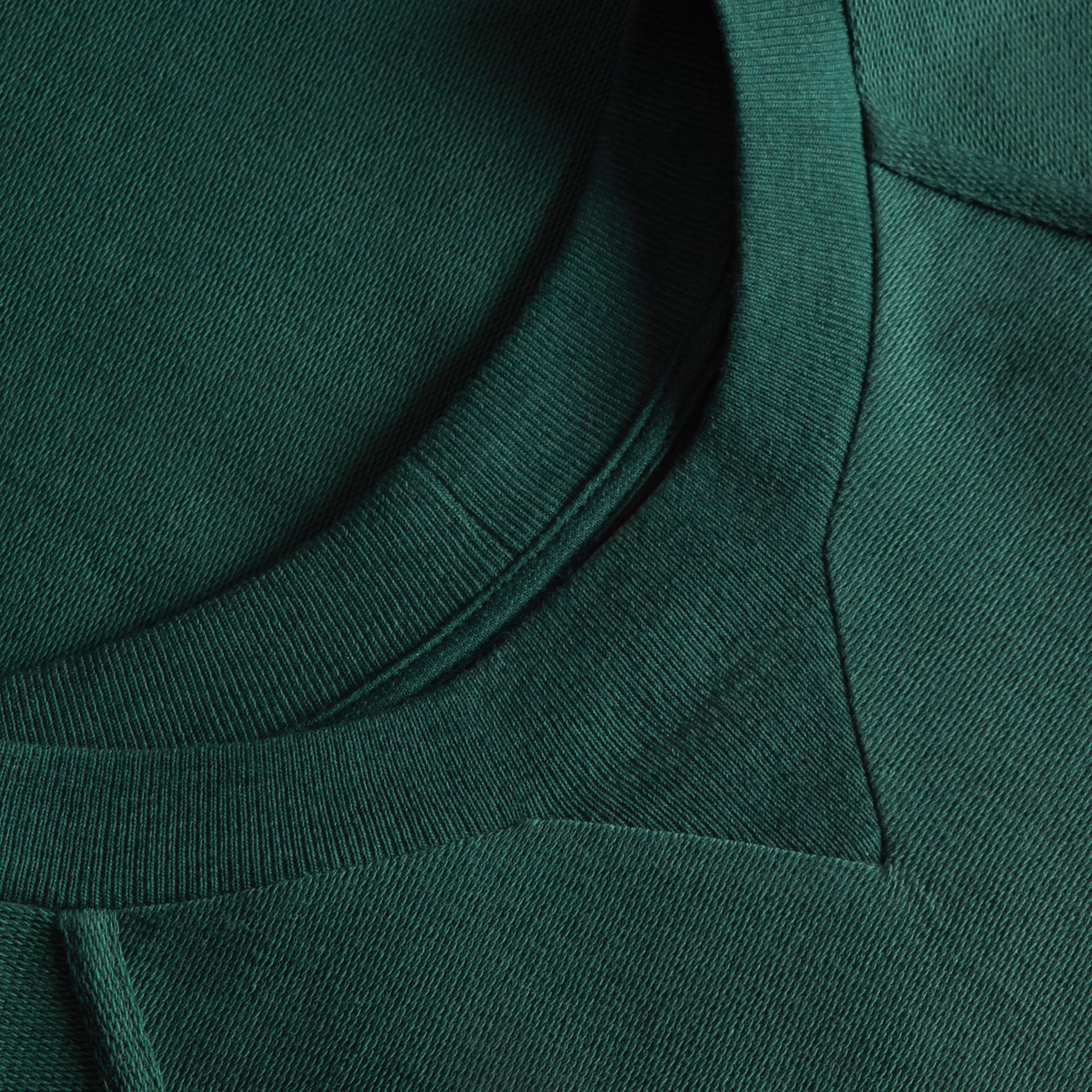 Embroidered Motif Cotton-blend Jersey Sweatshirt in Deep Teal - Men | Burberry - gallery image 2