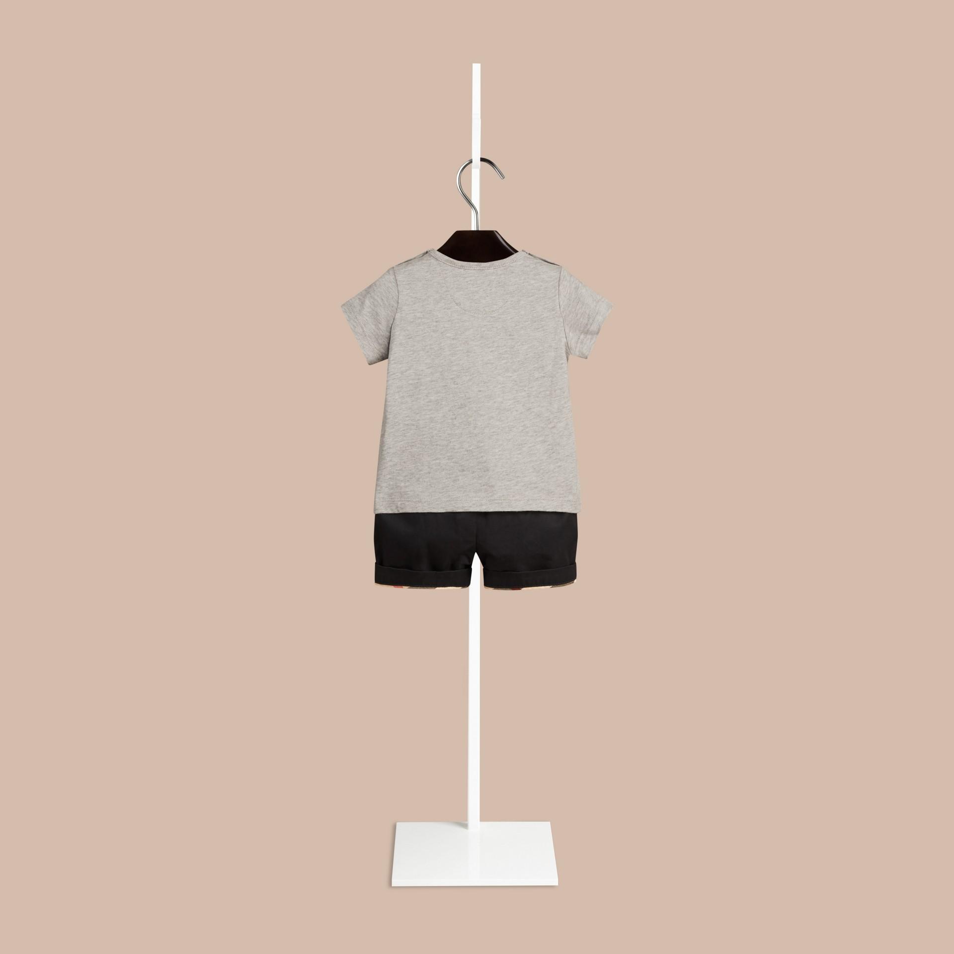 그레이 멜란지 치타 그래픽 코튼 티셔츠 그레이 멜란지 - 갤러리 이미지 2