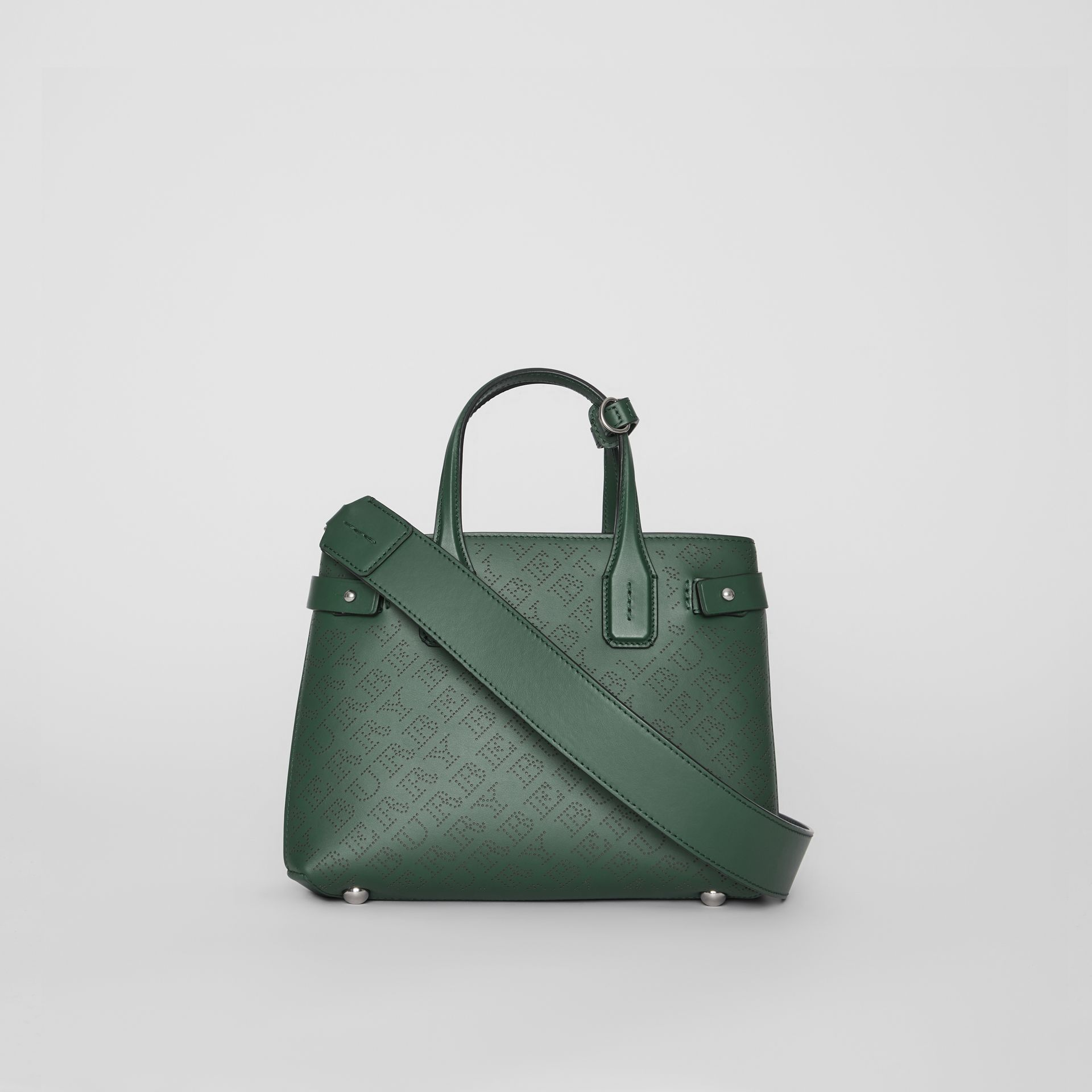 The Small Banner in Perforated Logo Leather in Vintage Green - Women | Burberry - gallery image 7