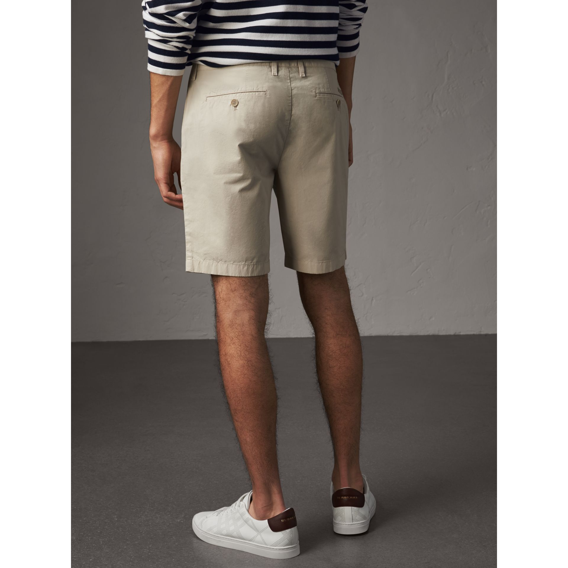 Cotton Poplin Chino Shorts in Stone - Men | Burberry United Kingdom - gallery image 2