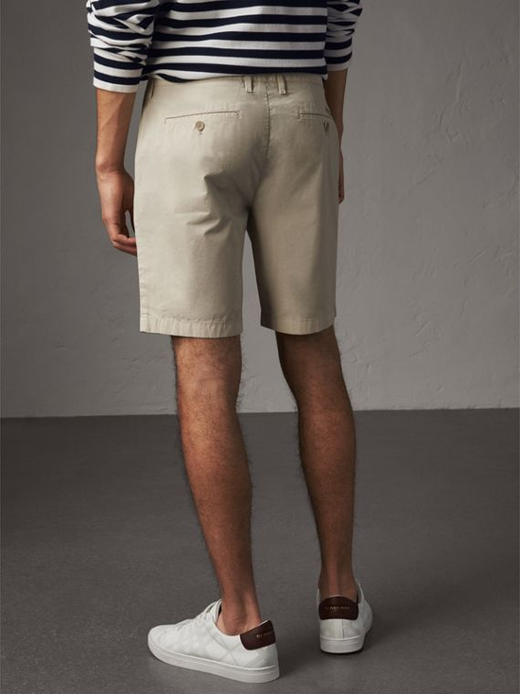 Cotton Poplin Chino Shorts in Stone - Men | Burberry - cell image 2