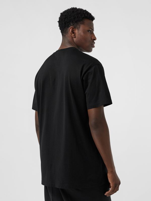 Logo Print Cotton T-shirt in Black - Men | Burberry United States - cell image 2