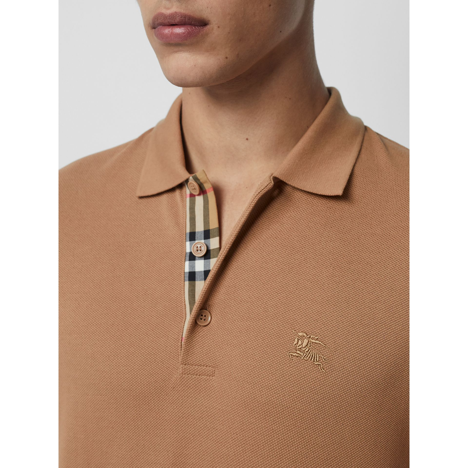 Check Placket Cotton Polo Shirt in Camel - Men | Burberry - gallery image 1