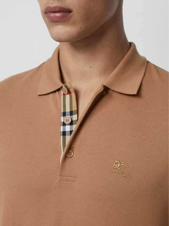Check Placket Cotton Polo Shirt in Camel - Men | Burberry - cell image 1