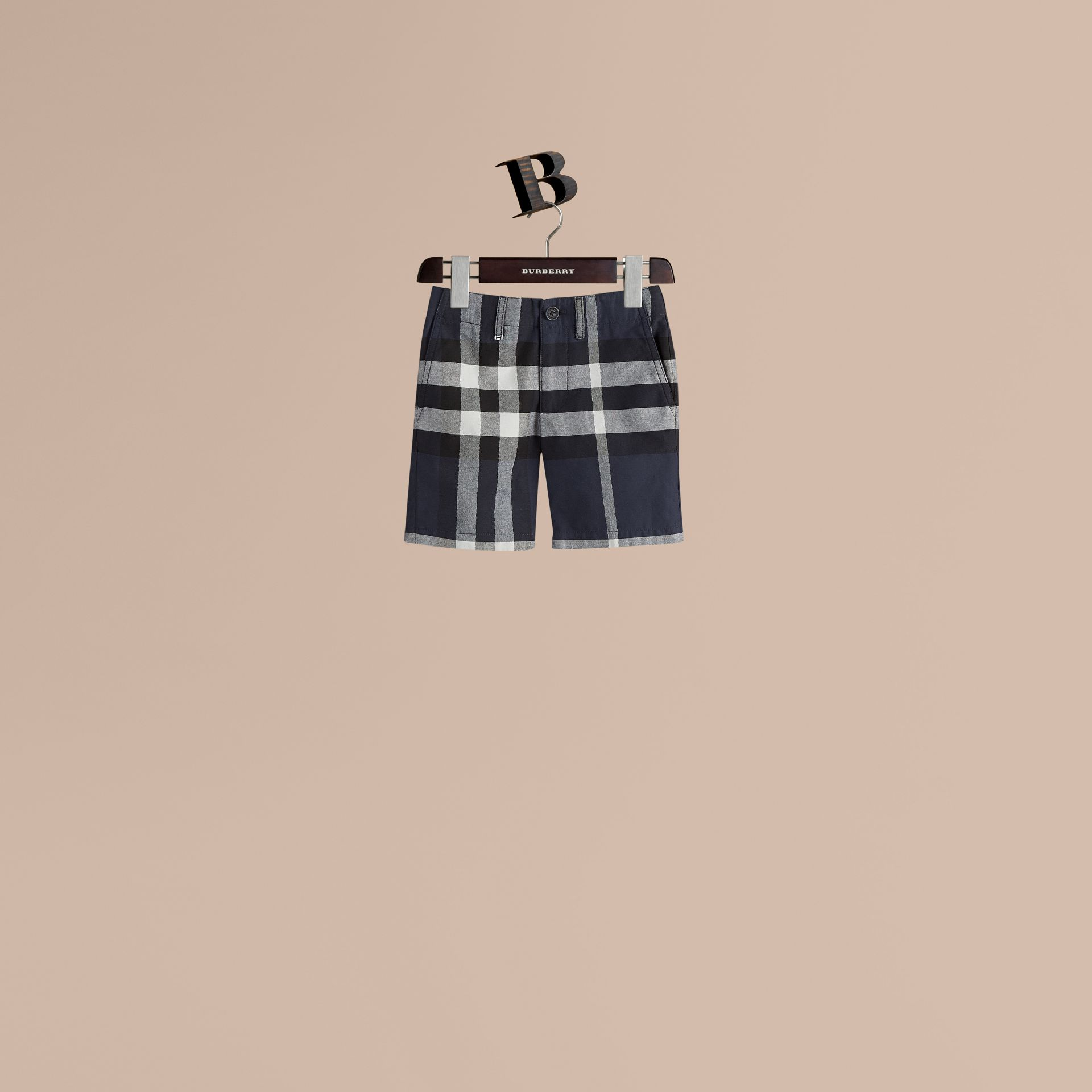 Check Cotton Chino Shorts in Navy - Boy | Burberry - gallery image 0