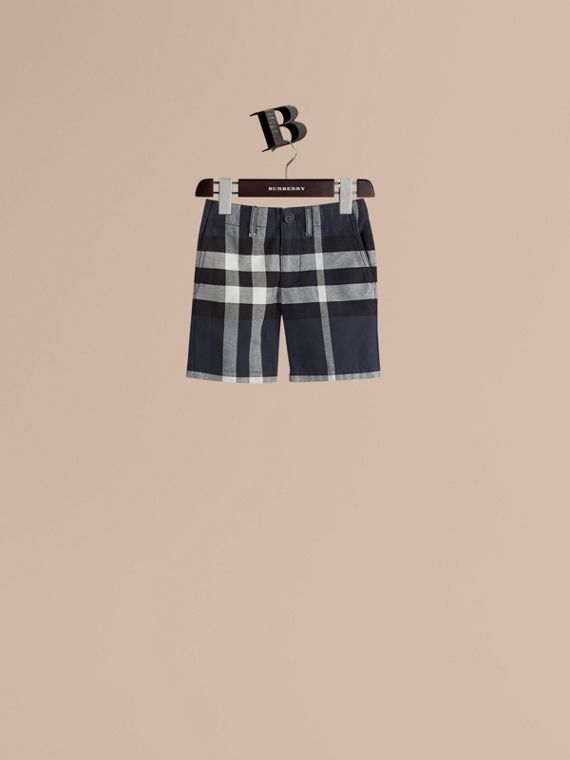Check Cotton Chino Shorts in Navy - Boy | Burberry