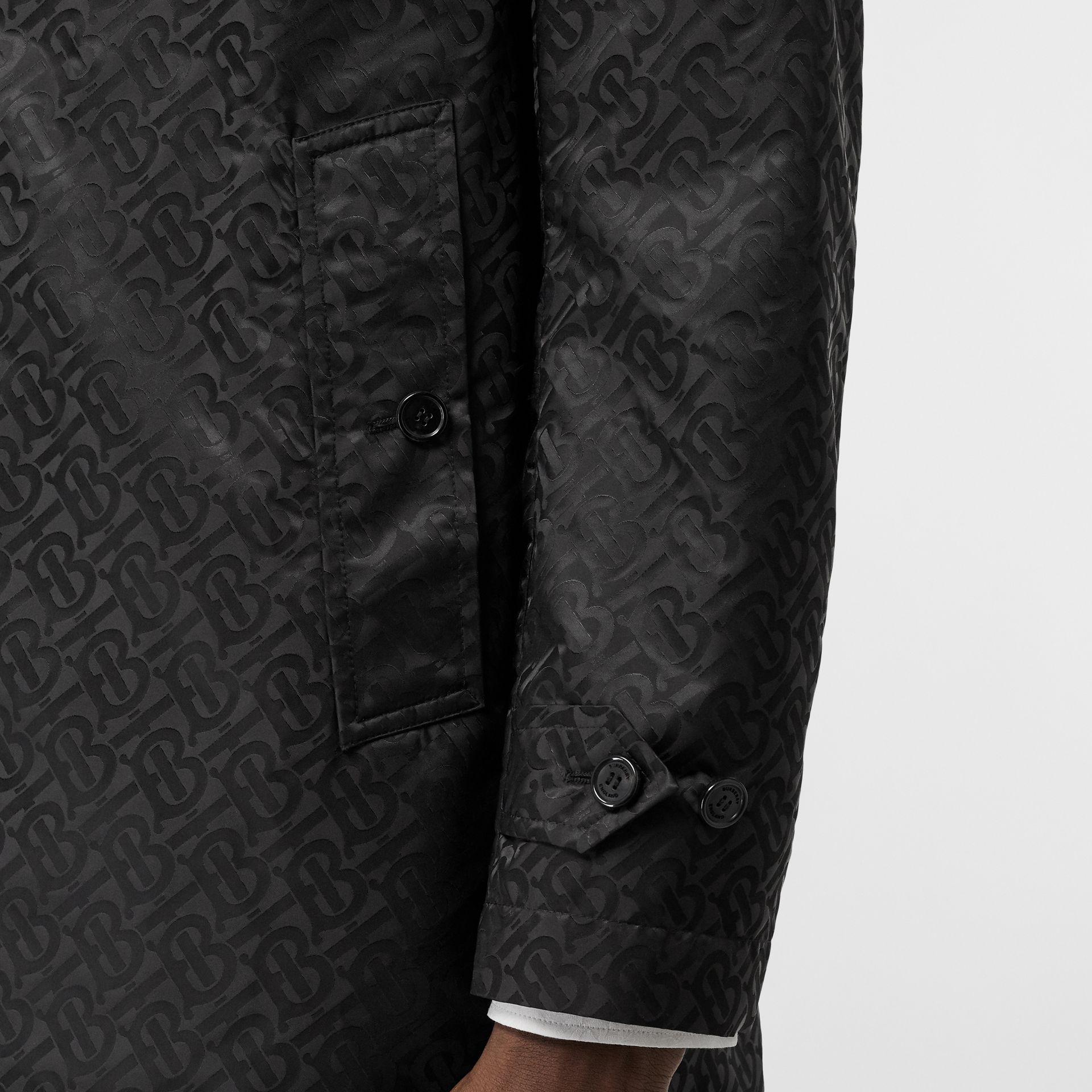 Monogram ECONYL® Jacquard Car Coat in Black | Burberry - gallery image 4