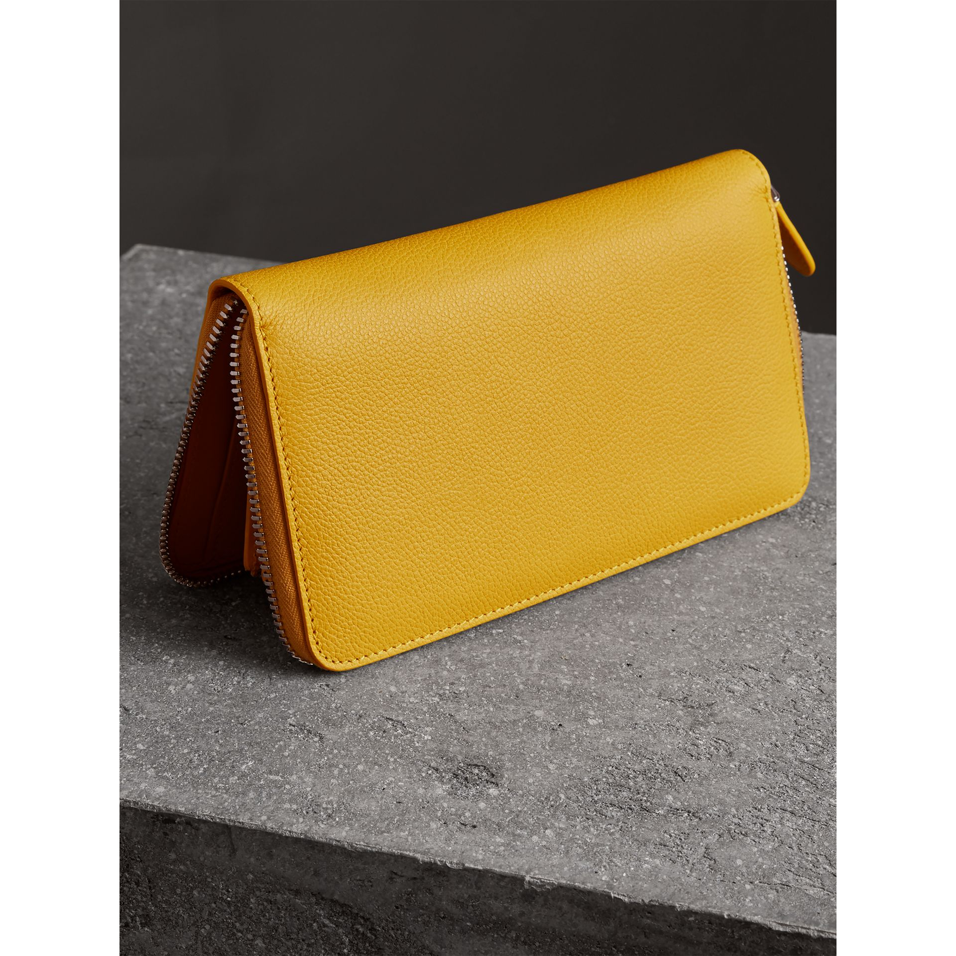 Burberry Embossed Leather Zip Around Wallet: Grainy Leather Ziparound Wallet In Bright Ochre Yellow