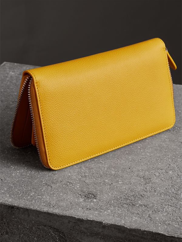 Grainy Leather Ziparound Wallet in Bright Ochre Yellow - Men | Burberry Canada - cell image 2