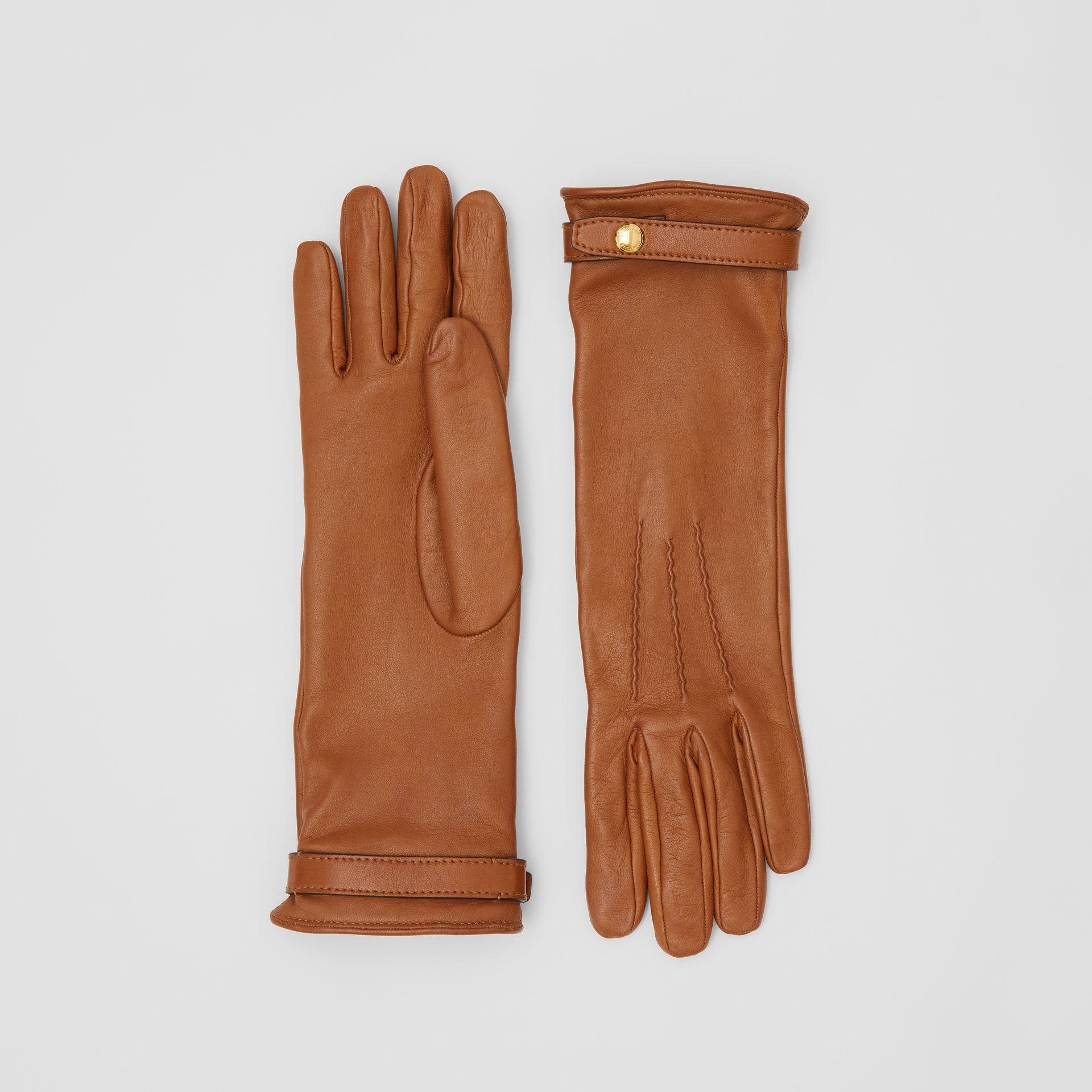 Silk-lined Lambskin Gloves in Brown - Women | Burberry - gallery image 0