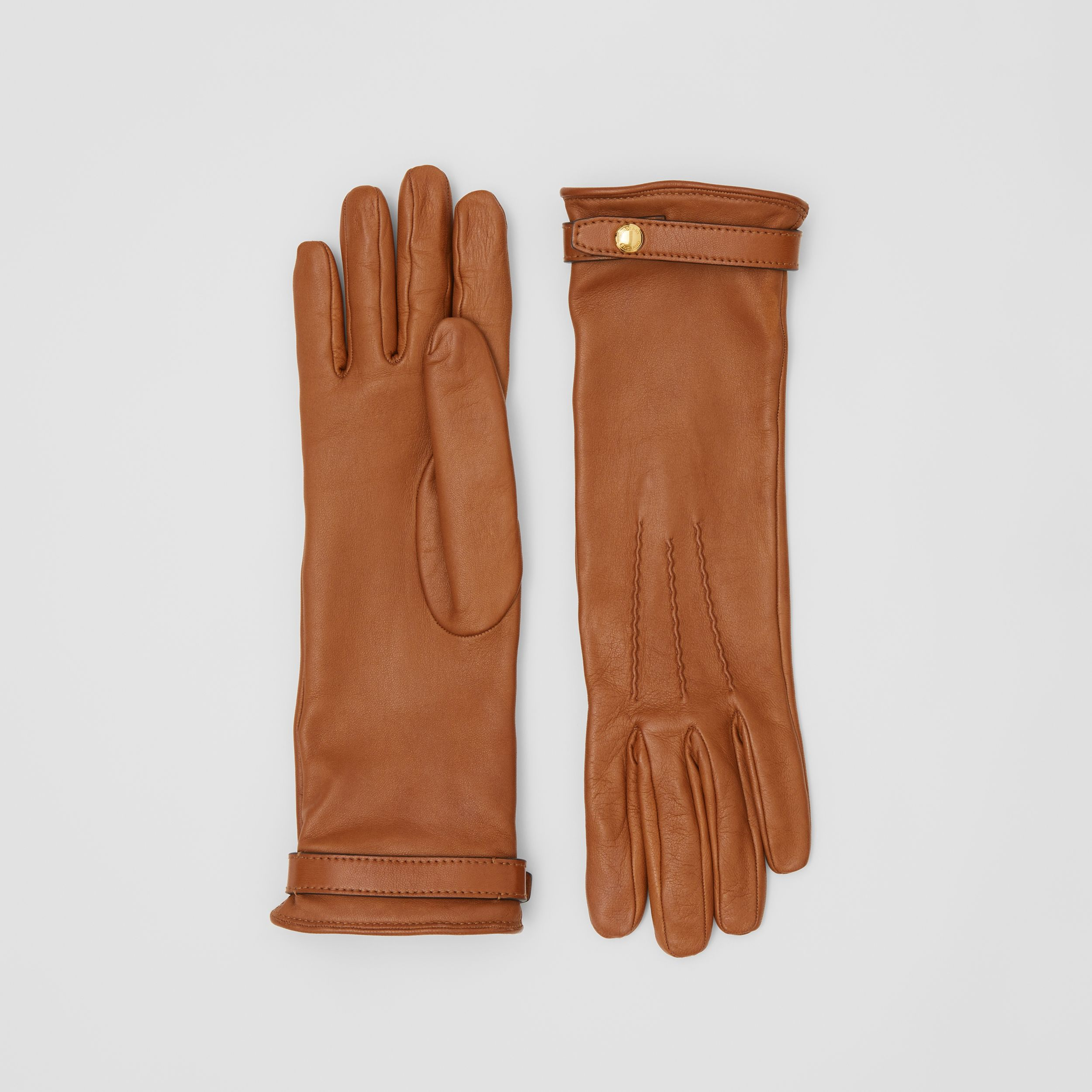 Silk-lined Lambskin Gloves in Brown | Burberry - 1