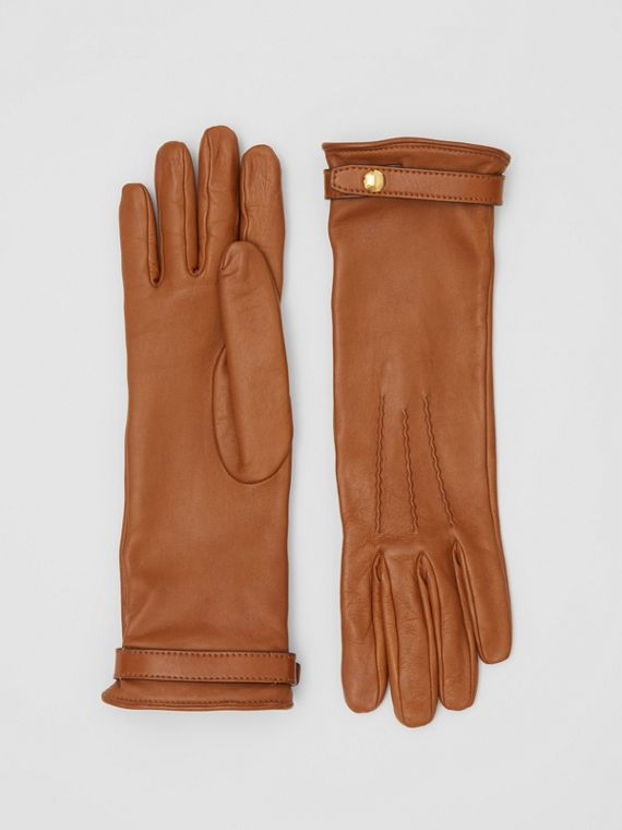 Silk-lined Lambskin Gloves in Brown