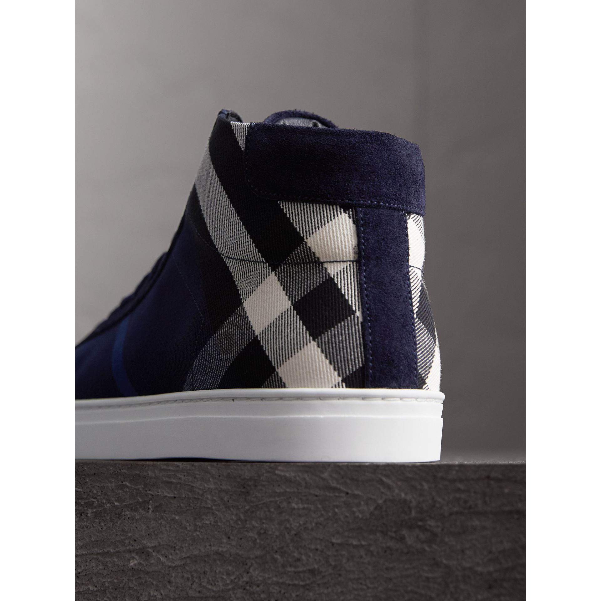 House Check Cotton and Calf Suede High-top Trainers in Navy - Men | Burberry - gallery image 3
