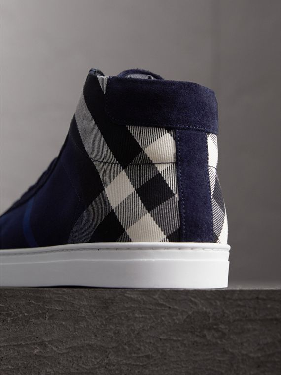 House Check Cotton and Calf Suede High-top Trainers in Navy - Men | Burberry Hong Kong - cell image 2