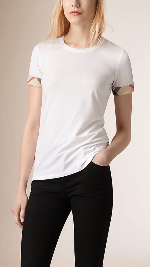 White Check Cuff Stretch Cotton T-Shirt - Image 1