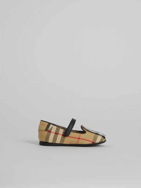 D-ring Strap Vintage Check Slippers in Antique Yellow | Burberry - cell image 3