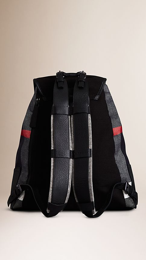 Navy Canvas Check Backpack - Image 3