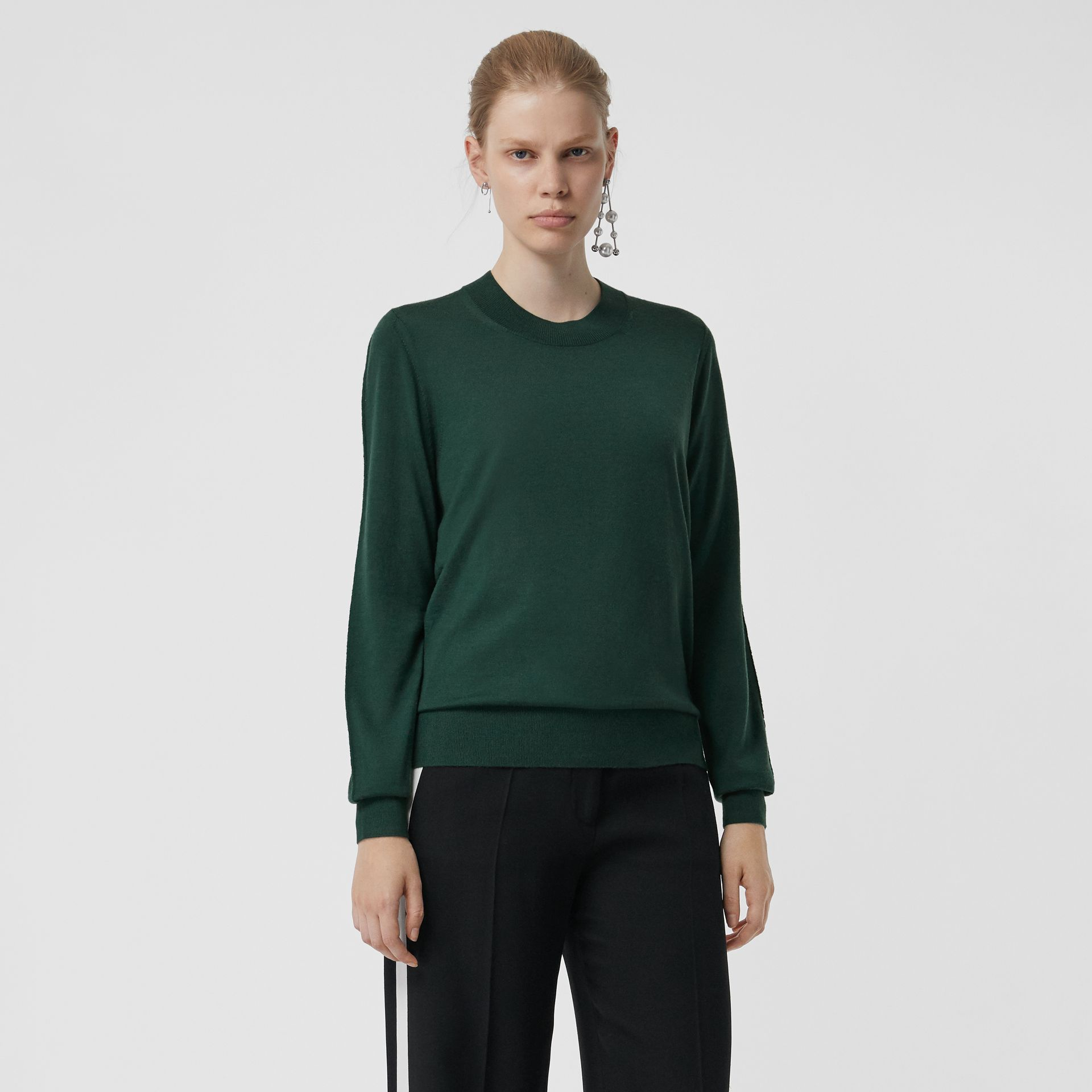 Merino Wool Crew Neck Sweater in Dark Forest Green - Women | Burberry Singapore - gallery image 0