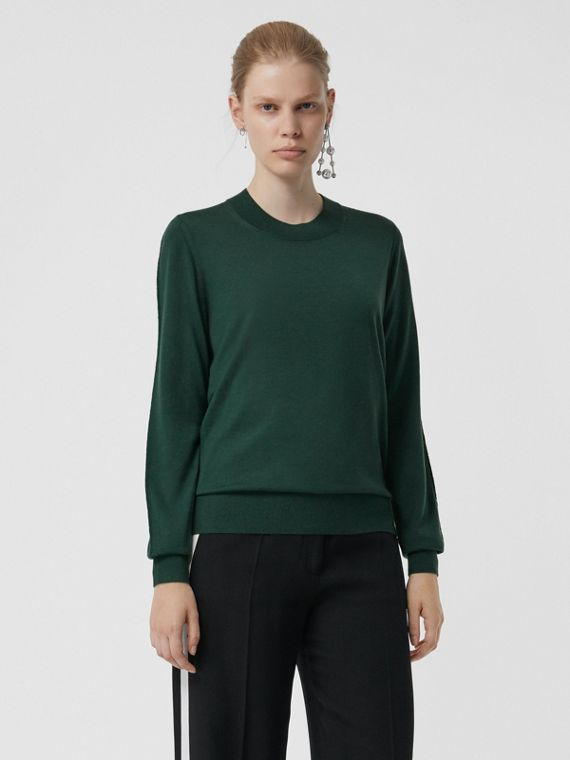 Merino Wool Crew Neck Sweater in Dark Forest Green