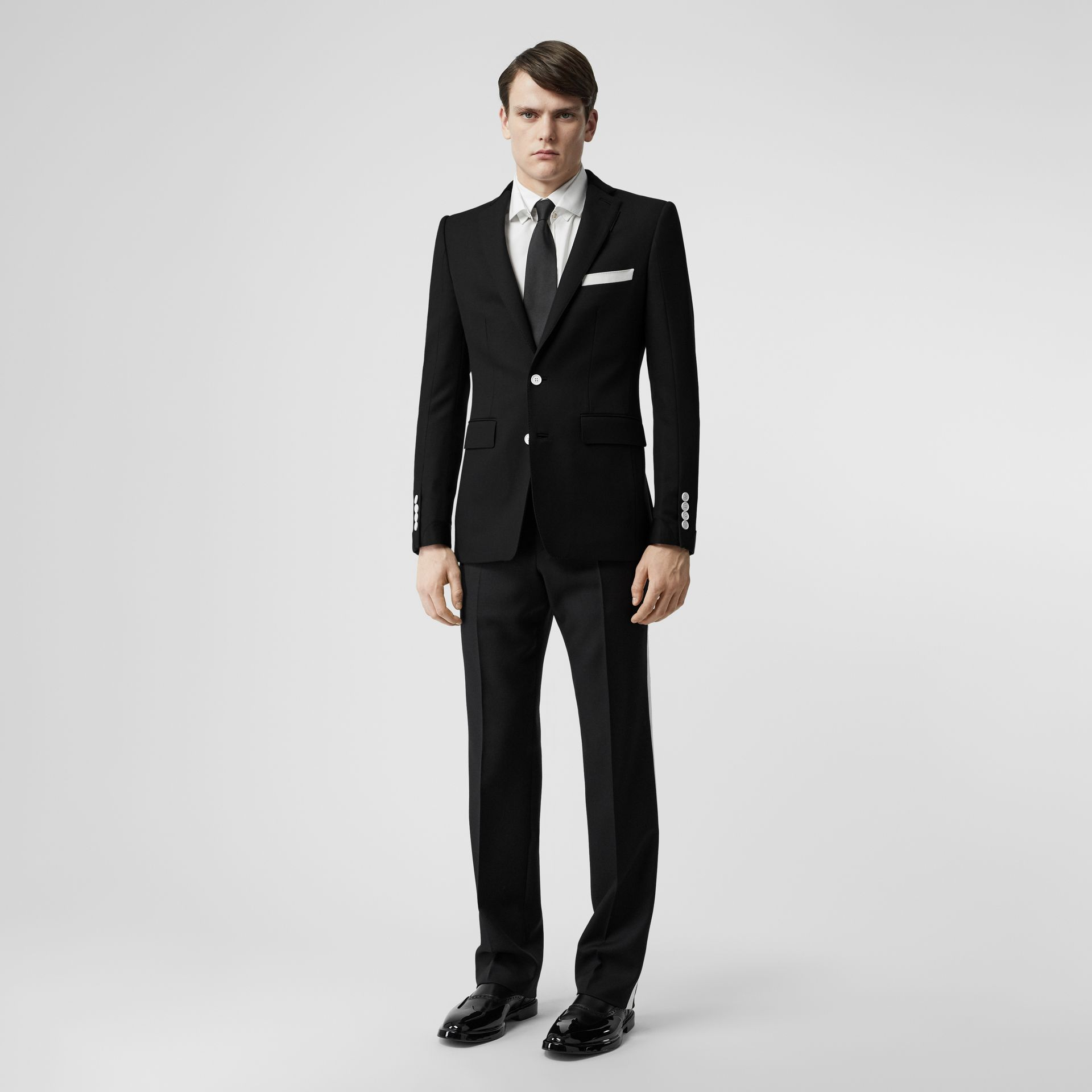 Stripe Detail Wool Twill Tailored Trousers in Black - Men | Burberry - gallery image 1