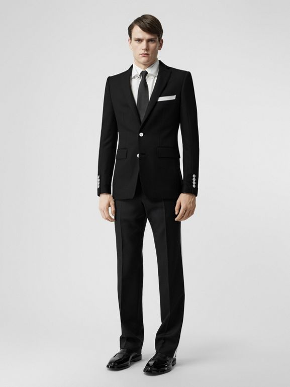 Stripe Detail Wool Twill Tailored Trousers in Black - Men | Burberry - cell image 1