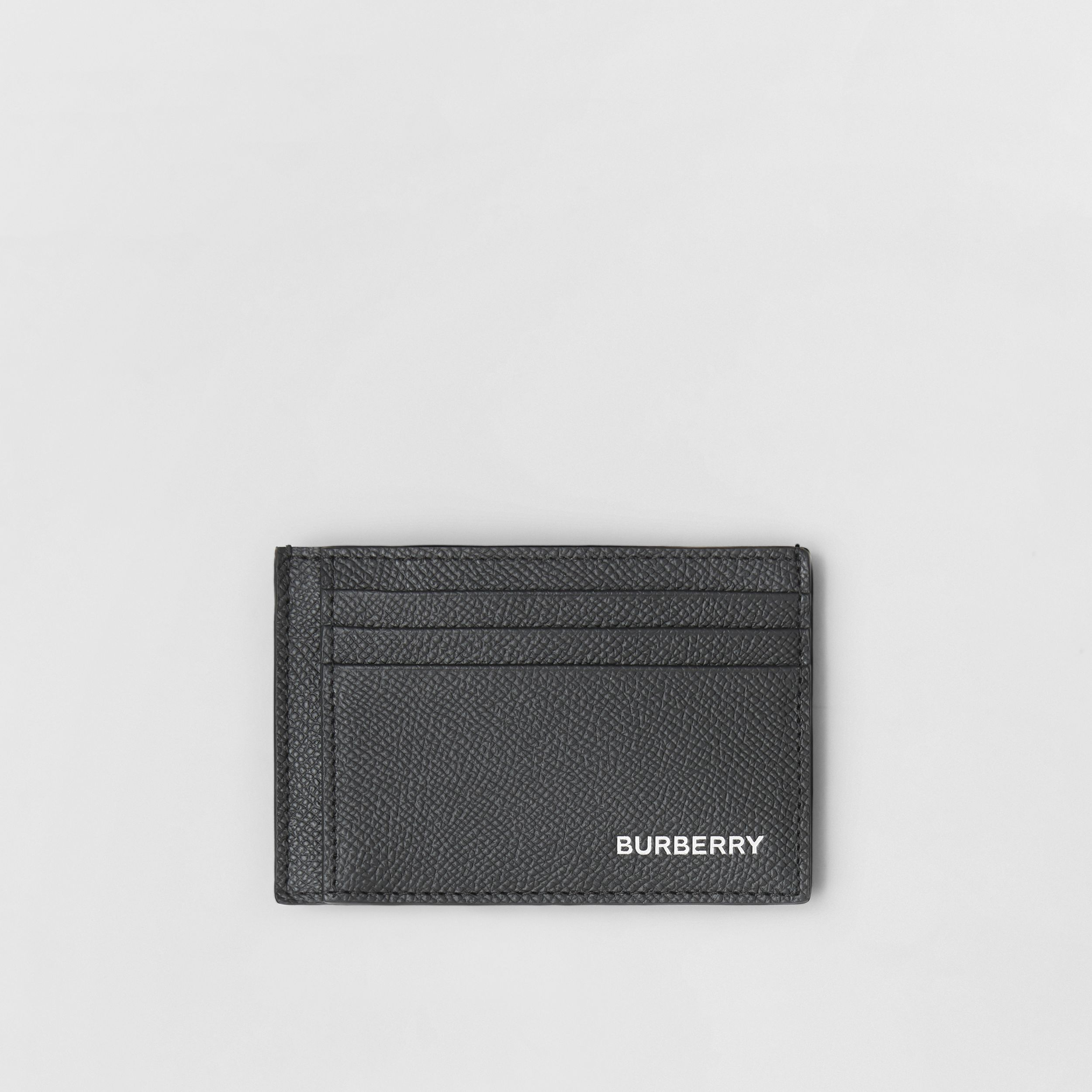 Grainy Leather Money Clip Card Case in Black - Men | Burberry - 1