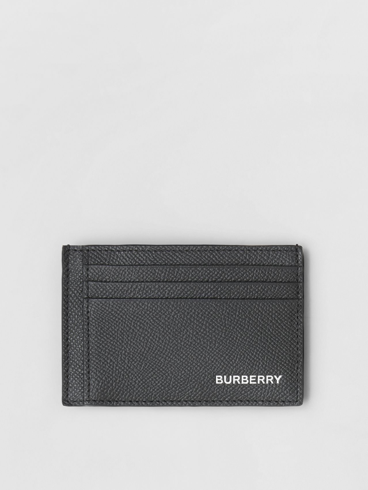 Grainy Leather Money Clip Card Case in Black