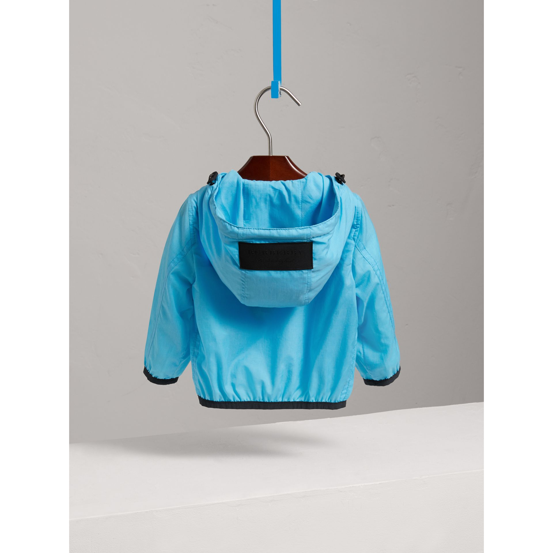 Showerproof Hooded Jacket in Bright Turquoise - Children | Burberry - gallery image 3