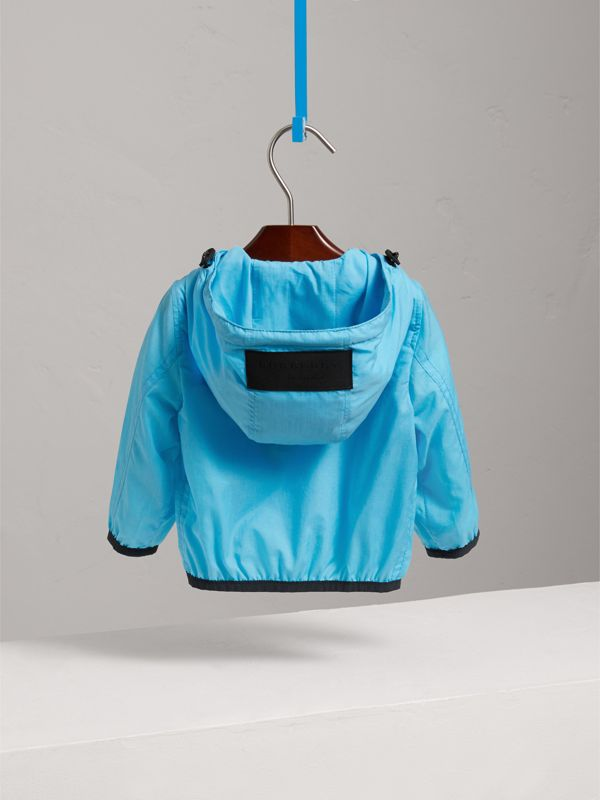 Showerproof Hooded Jacket in Bright Turquoise - Children | Burberry United Kingdom - cell image 3