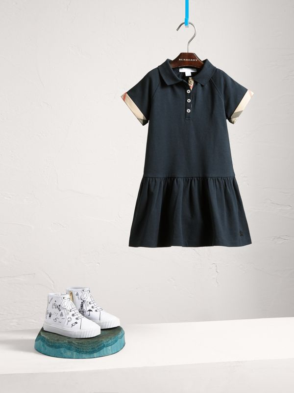 Dropped-waist Stretch Cotton Piqué Dress in Navy | Burberry - cell image 2