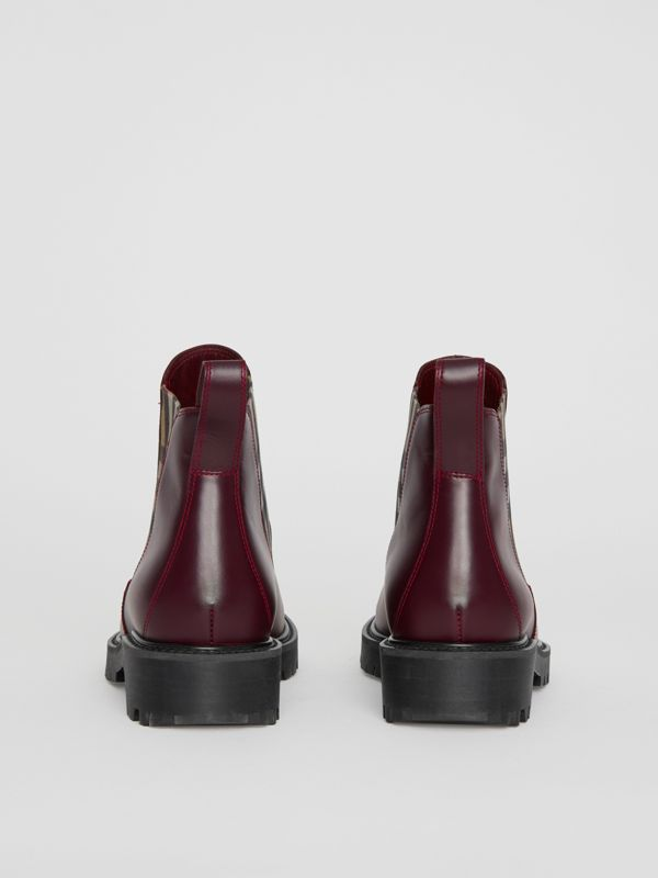 Vintage Check Detail Leather Chelsea Boots in Oxblood - Women | Burberry - cell image 3