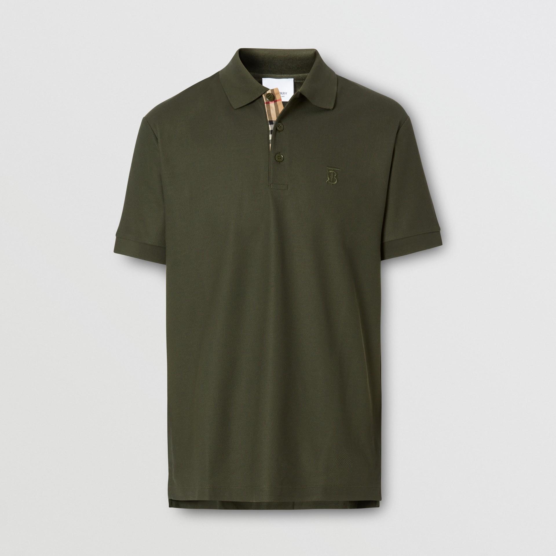 Monogram Motif Cotton Piqué Polo Shirt in Seaweed - Men | Burberry - gallery image 3
