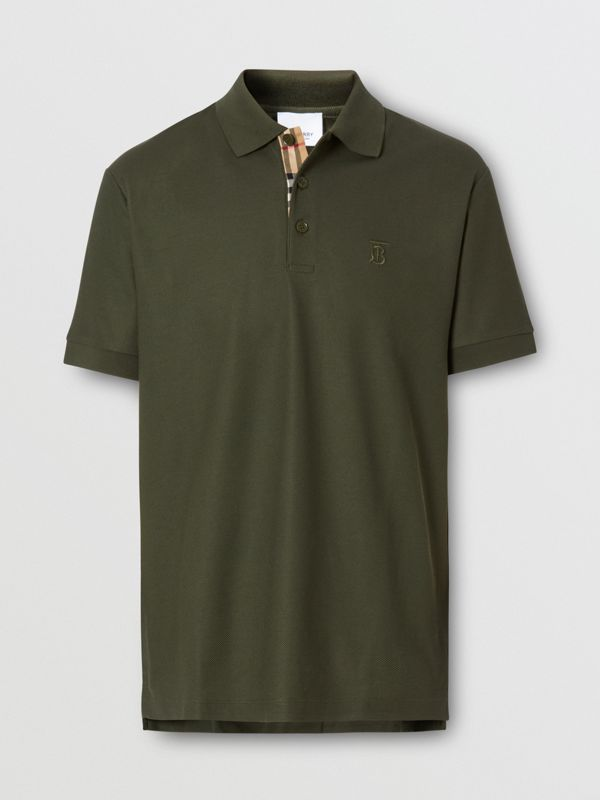 Monogram Motif Cotton Piqué Polo Shirt in Seaweed - Men | Burberry - cell image 3