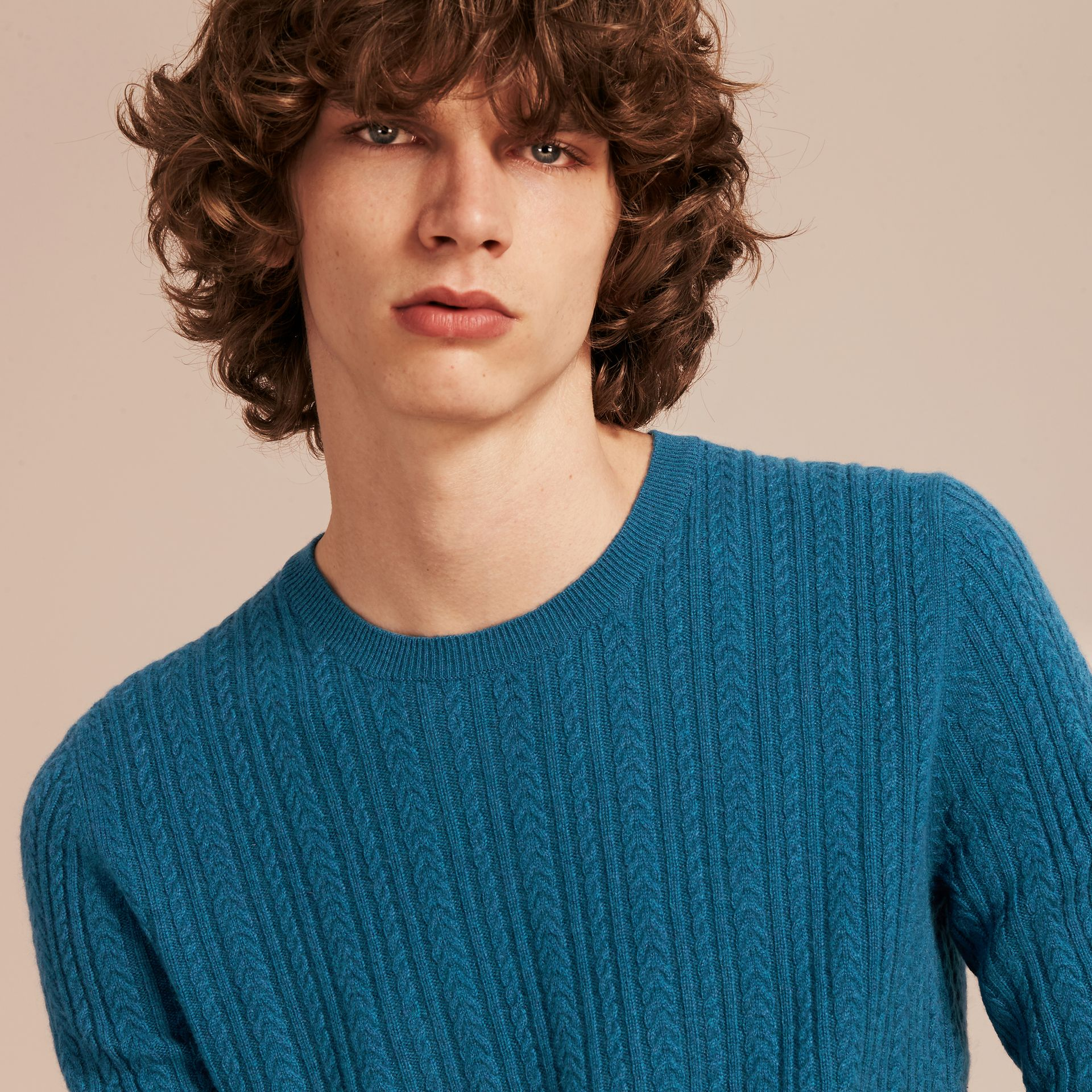 Cyan blue Aran Knit Cashmere Sweater Cyan Blue - gallery image 5