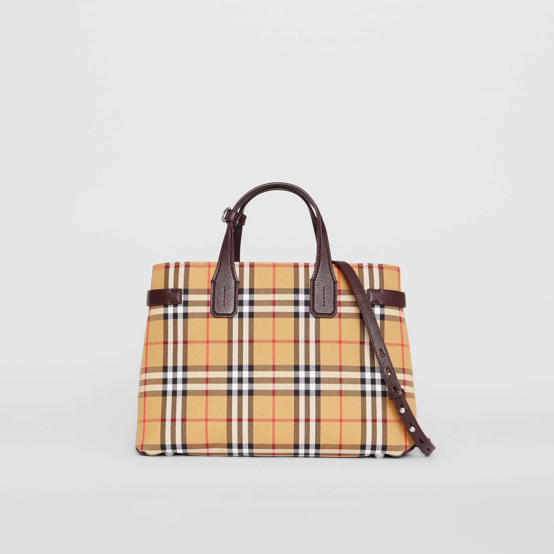 The Medium Banner in Vintage Check and Leather in Deep Claret - Women | Burberry United Kingdom - gallery image 0