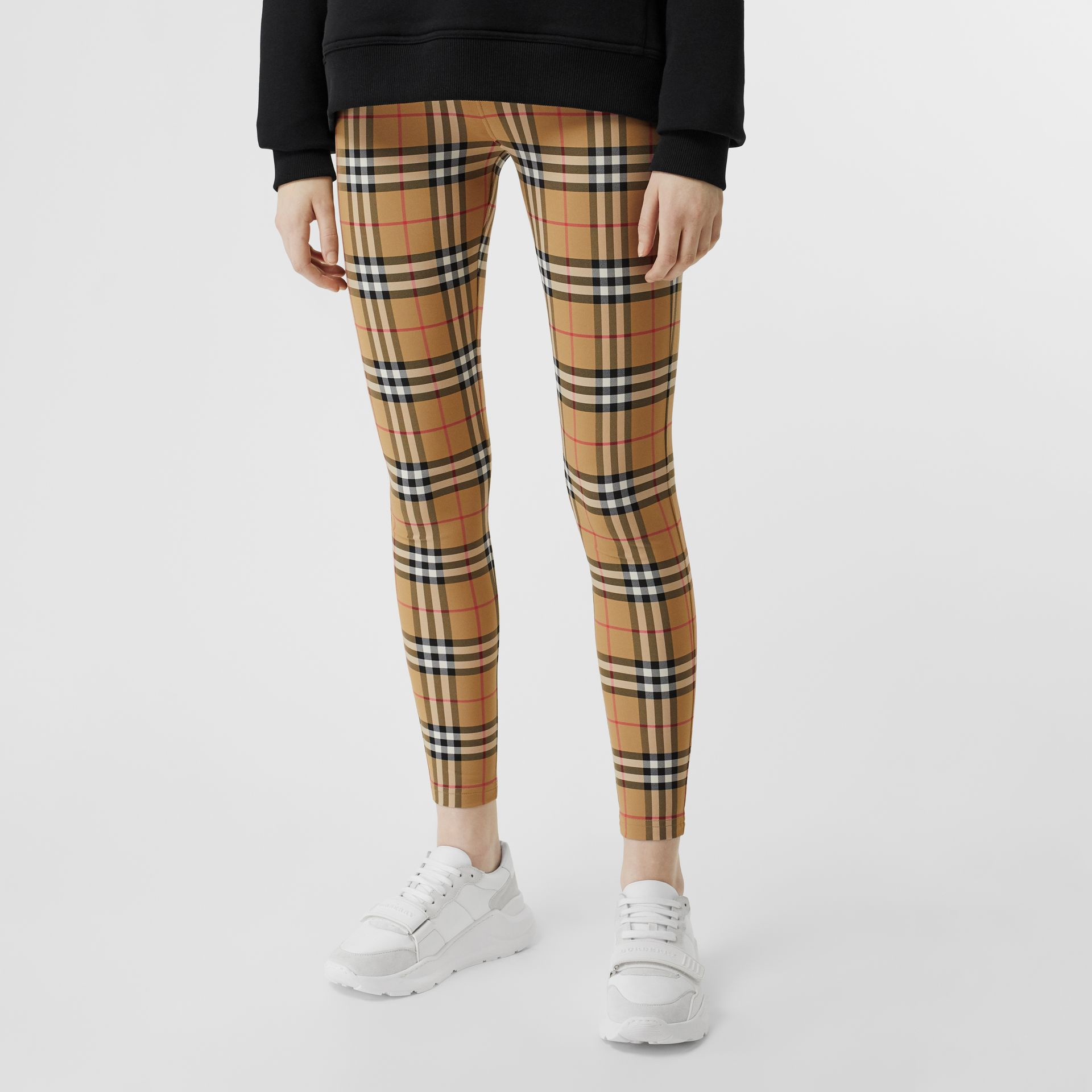 Logo Detail Vintage Check Leggings in Antique Yellow - Women | Burberry United Kingdom - gallery image 4