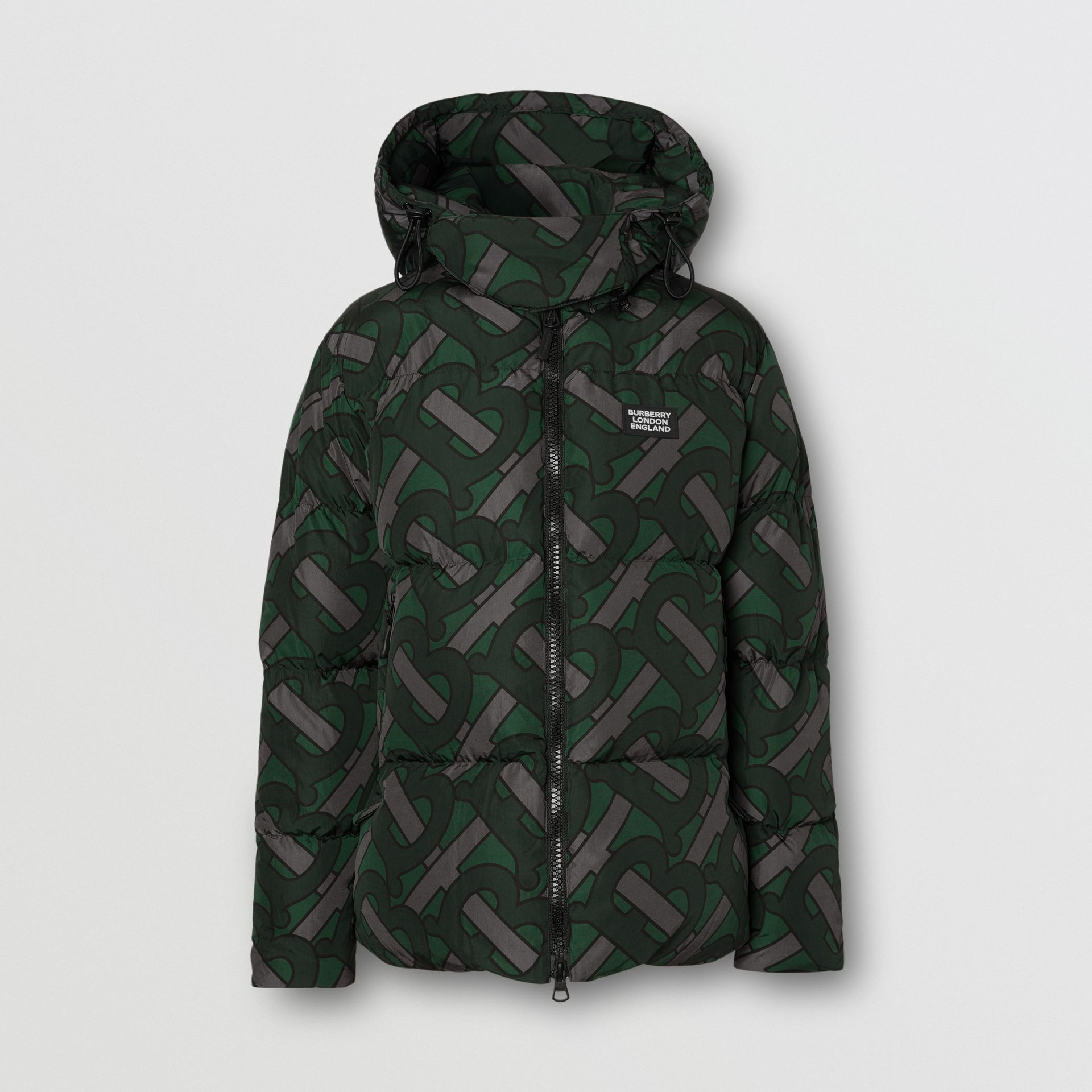 Monogram Print Puffer Jacket in Forest Green | Burberry - gallery image 0
