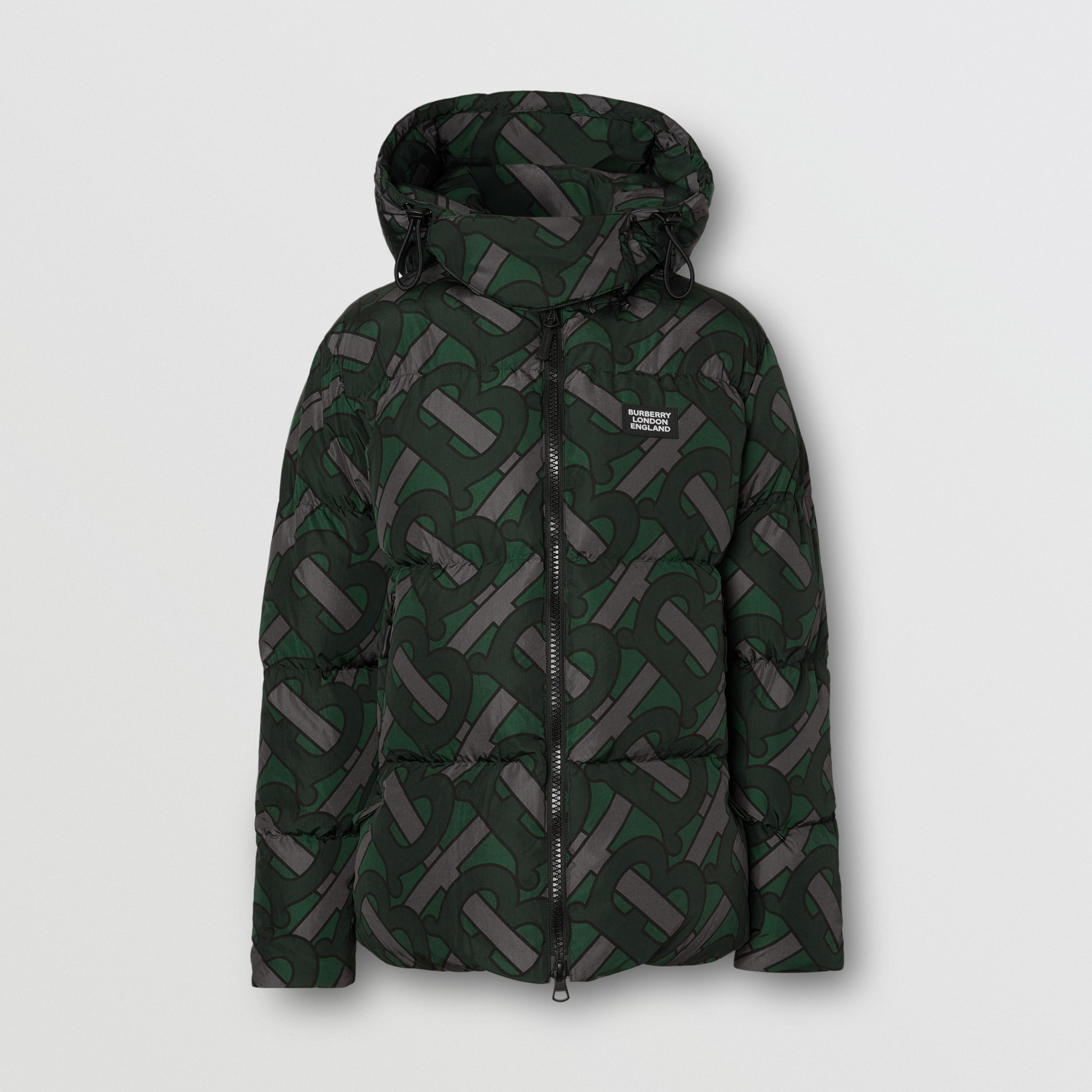 Monogram Print Puffer Jacket in Forest Green | Burberry - 1