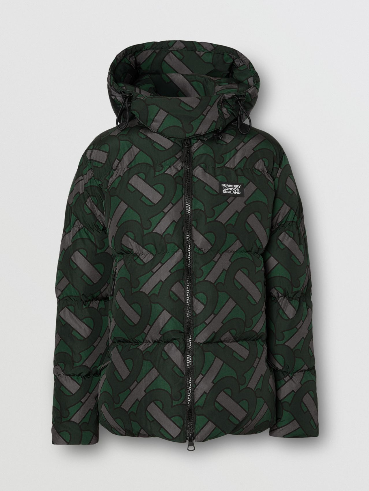 Monogram Print Puffer Jacket in Forest Green