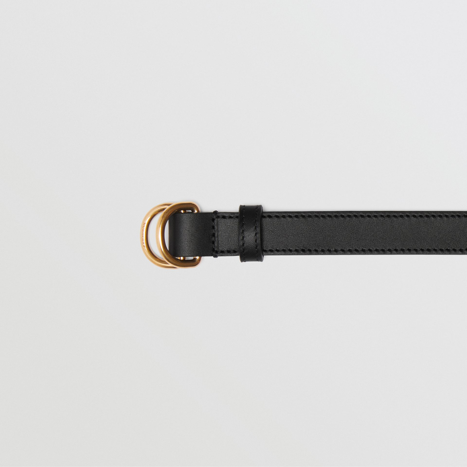 Slim Leather Double D-ring Belt in Black/dark Brass - Women | Burberry - gallery image 1